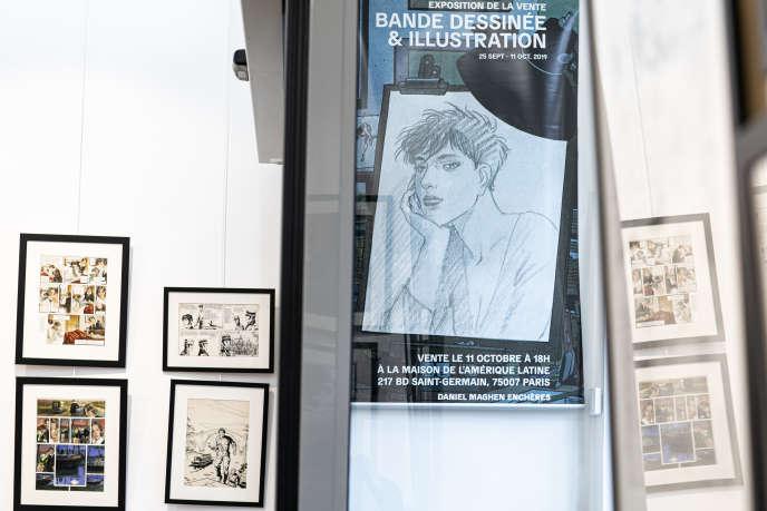 Vue de l'affiche annonçant la vente aux enchères organisée vendredi 11 octobre 2019 par le galeriste spécialisé dans la BD, Daniel Maghen, à Paris.
