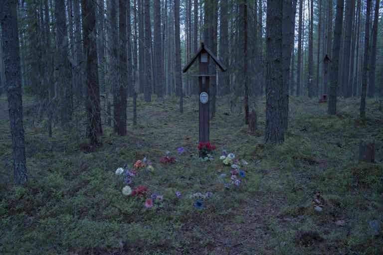 An improvised memorial for the victims of the Stalin's Great Purge placed near a burial pit in the woods of Sandarmokh.  Located next to the Belomorkanal, which was constructed almost entirely by forced labour of Gulag prisoners, these woods served a place for mass executions in 1937-38, when more than 9000 people of 58 nationalities where executed on the pretext of the anti-Soviet activity.