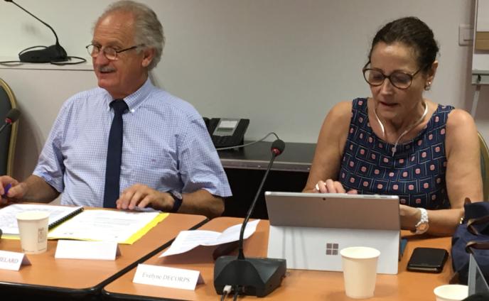 Evelyne Decorps, préfète, administratrice supérieure des Terres australes et antarctiques françaises, et Claude Bachelard, président du Conseil consultatif des TAAF, le 28 juin, au ministère des outre-mer.