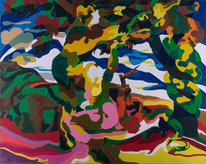 Alain Jacquet (1939-2008)Camouflage Michel Ange, Chapelle Sixtine, la tentation d'Eve, 1962-63 Huile sur toile.