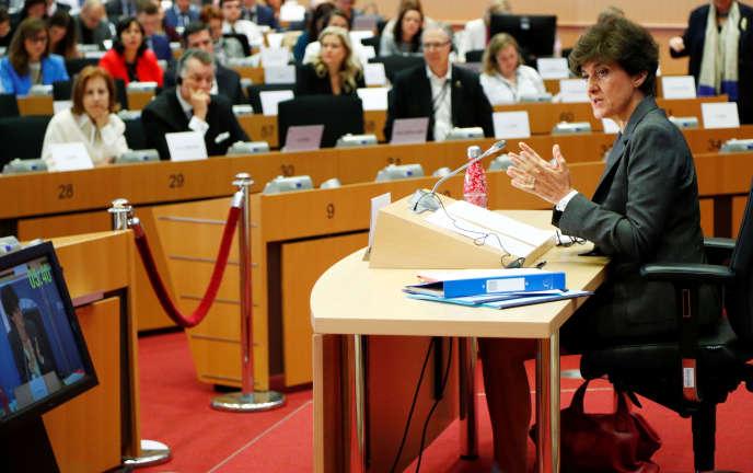 La Française Sylvie Goulard, lors de sa seconde audition devant le Parlement euroépen, à Bruxelles, le 10 octobre 2019.