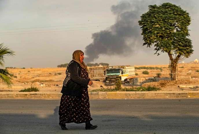 A Ras Al-Aïn (Syrie), bombardée par l'armée turque, mercredi 9 octobre 2019.