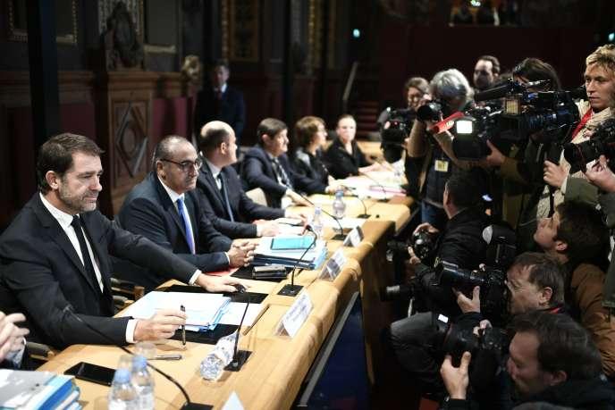 Le ministre de l'intérieur, Christophe Castaner, devant les sénateurs, le 10 octobre.