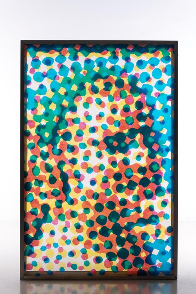 Alain Jacquet (1939-2008), Sans titre, portrait de Jeannine, 1967 Montage de trois acryliques sur Plexiglas dans un caisson en métal