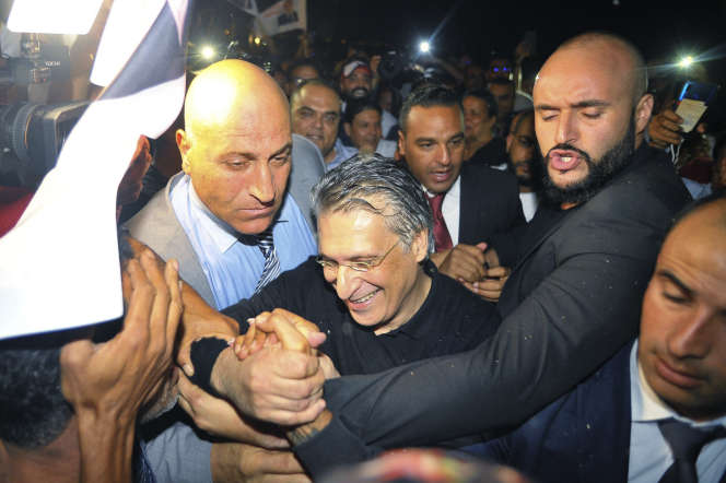Le candidat à l'élection présidentielle tunisienne, Nabil Karoui, après sa libération à Mornaguia, le 9 octobre.
