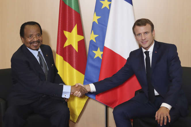 Paul Biya, président du Cameroun, lors de sa rencontre avec Emmanuel Macron à Lyon, le 10 octobre.