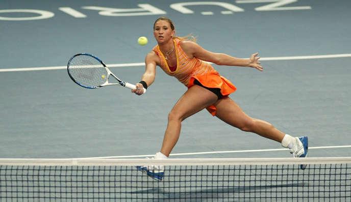 La joueuse française d'origine russe Tatiana Golovin lors d'un match, contre Justine Henin, à Zurich, le 21 octobre 2007.