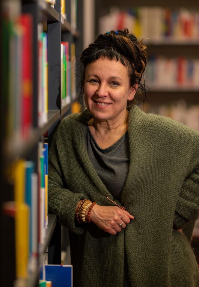 L'écrivaine polonaise Olga Tokarczuk lors d'une conférence de presse à Bielefeld (Allemagne), le 10 octobre 2019.