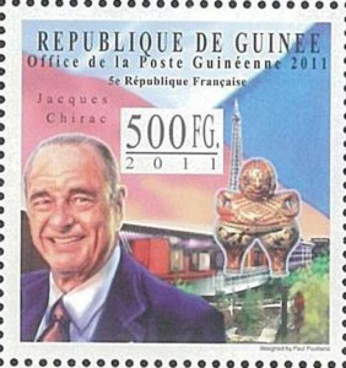 Jacques Chirac sur un timbre de Guinée, 2011.