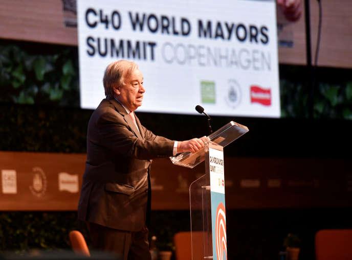 Antonio Guterres, le secrétaire général des Nations unies, au sommet du C40, à Copenhague, le 11 octobre.