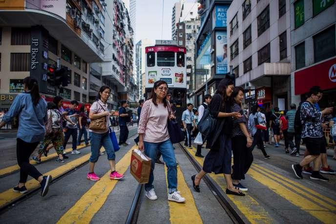 Dans une rue de Hongkong, le 10 octobre.