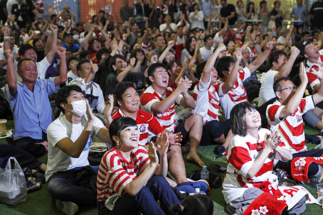 Dans la fan-zone d'Hamamatsu, le 20 septembre 2019.