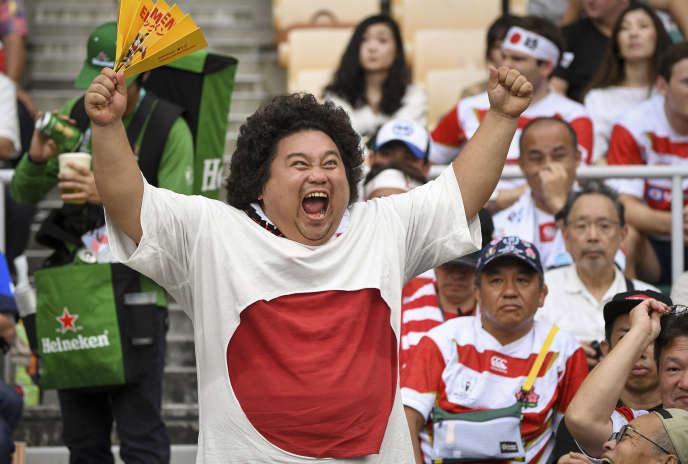 Un supporter de l'équipe du Japon, le 28 septembre 2019 à Shizuoka.