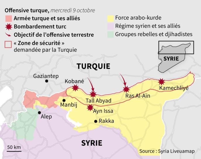 Carte de situation de l'offensive turque en Syrie, au mercredi 9 octobre.