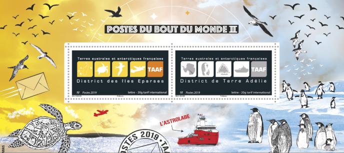 Bloc-feuillet composé de deux timbres, intitulé « Postes du bout du monde II », tiré à 13500 exemplaires , vendu au Salon philatélique d'automne début novembre à Paris.
