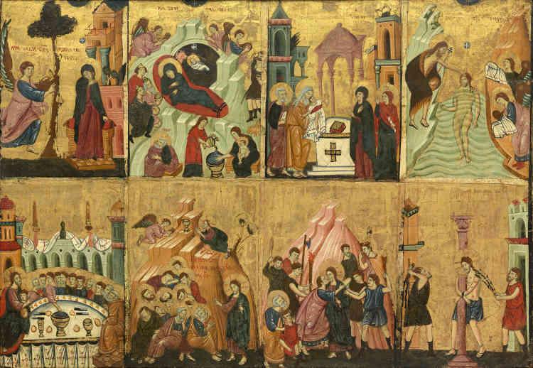 Ce tableau, qui représente huit scènes de la vie du Christ, constitue la partie gauche d'un retable, probablement complété à l'origine par une Vierge à l'Enfant sur le panneau central et des Scènes de la Passion et de la Résurrection sur le côté droit. La présence d'inscriptions commentant les images, ainsi que certains choix iconographiques, témoignent d'une forte influence de l'art byzantin sur la culture figurative de cet artiste anonyme.