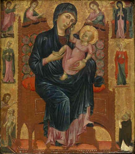 Le moine agenouillé aux pieds de la Vierge à l'Enfant en majesté suggère que ce panneau a été exécuté pour un dominicain qui devait connaître «La Maestà« de Duccio di Buoninsegna (Florence, Offices), alors conservée dans l'église de son ordre, Santa Maria Novella, à Florence. Si la madone du panneau Alana n'est pas une copie à proprement parler, la tendresse qui lie la mère et l'enfant est caractéristique du style des suiveurs directs de Duccio.