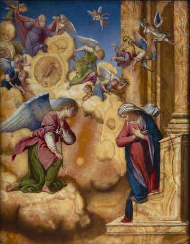 Peu de peintures sur pierre du Toscan Gentileschi nous sont parvenues. Fréquentes dans l'école florentine des XVIe et XVIIe siècles, les œuvres de ce type permettent aux artistes de jouer sur les veines naturelles de la surface minérale, comme ici dans le prie-Dieu de la Vierge et dans l'arrière-plan architectural.