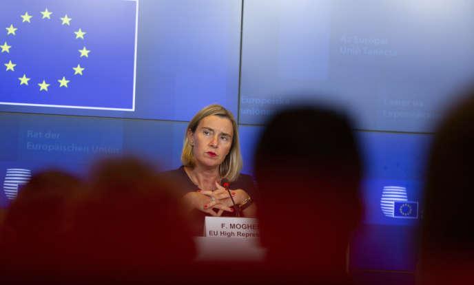 la chef de la diplomatie européenne, Federica Mogherini, lundi 14 octobre, à Luxembourg.