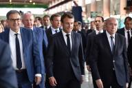 David Kimelfeld, président de la métropole de Lyon, Emmanuel Macron et Gérard Collomb, maire de Lyon, à Villeurbanne, le 8 juillet 2019.