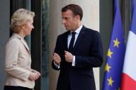 Emmanuel Macron et la présidente de la Commission européenne Ursula Von der Leyen, à l'Elysée, le 14 octobre.