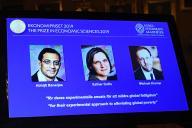 L'annonce du Nobel d'économie, lundi 14 octobre, àStockholm.