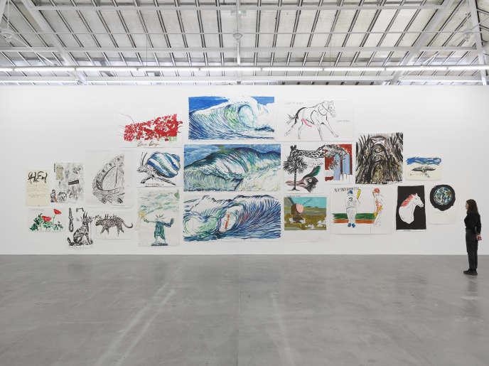 Installation de l'artiste Raymond Pettibon et de son exposition Frenchette a la galerie David Zwirner, à Paris, et qui se tiendra du mercredi 16 octobre au samedi 23 novembre.