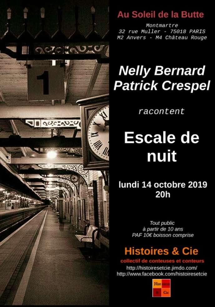 Visuel du spectacle de Nelly Bernard et Patrick Crespel,« Escale de nuit», au café-restaurant Au Soleil de la Butte (Paris 18e).