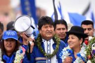 Le président bolivien Evo Morales lors d'unrassemblement politique à La Paz, le 5 octobre, avant les élections générales du 20 octobre.