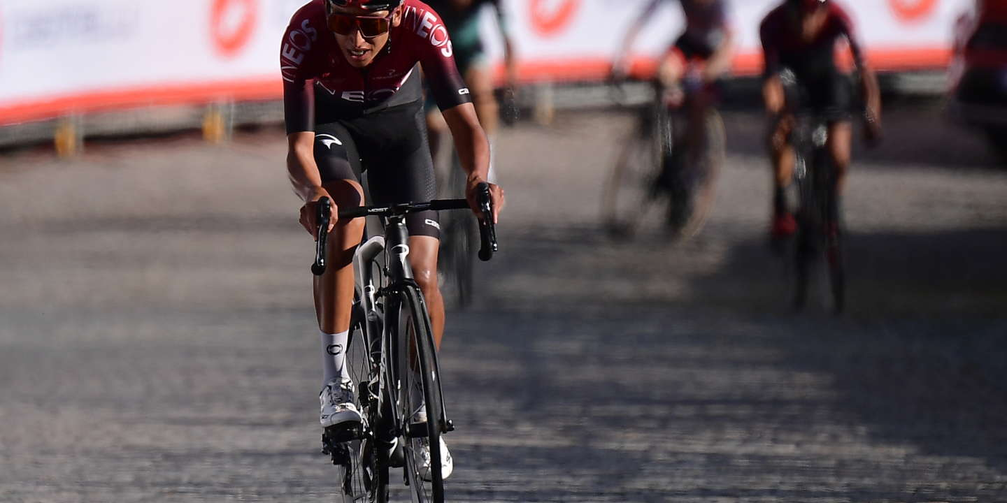 Winner of the Tour de France 2019 Colombian Ineos rider Egan Bernal rides before crossing the finish line of the one-day semi-Classic Gran Piemonte cycling race, between Aglie and Santuario di Oropa, Biella, on October 10, 2019. (Photo by MARCO BERTORELLO / AFP)