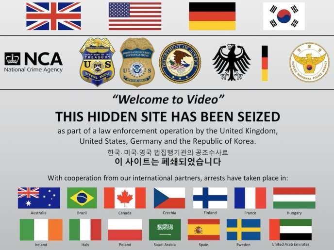 La page d'accueil du site, repaire de pédophiles, a été remplacée par un message annonçant l'opération de police.