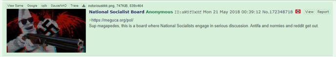 Invitation à rejoindre le forum Meguca pour des« discussions sérieuses entre nationaux-socialistes», publiée sur 4chan.