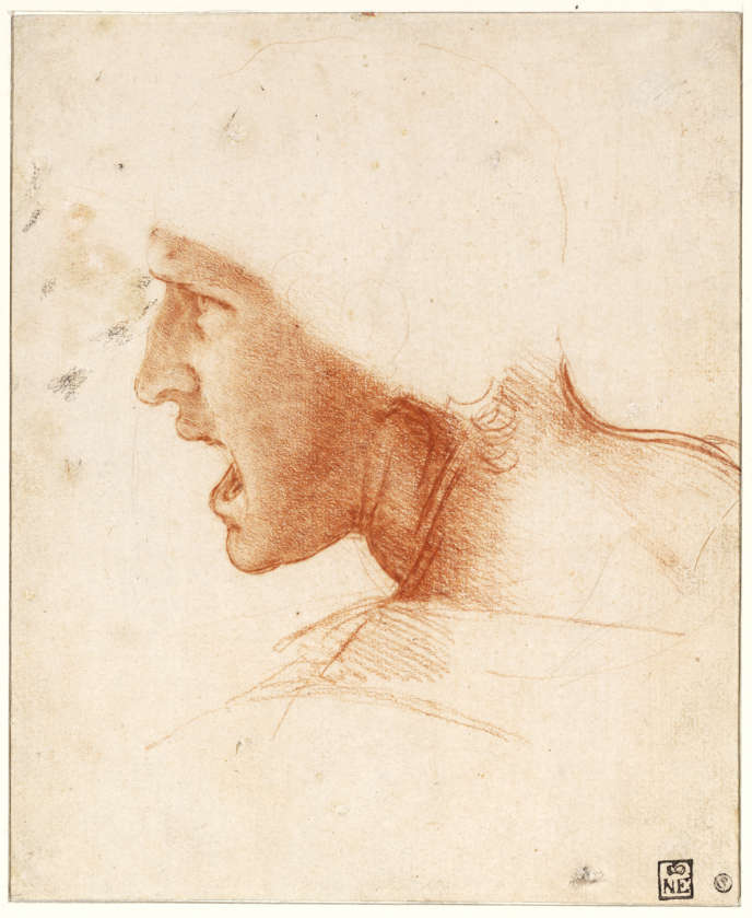 Léonard de Vinci, Étude de figure pour la Bataille d'Anghiari, vers 1504.
