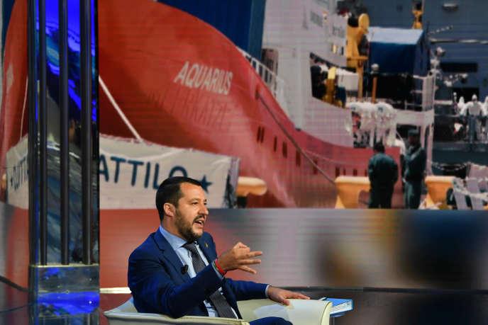 Matteo Salvini sur le plateau de lémission «Porta a Porta» en juin 2018.