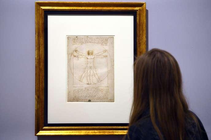 L'« Homme de Vitruve» de Léonard de Vinciest exposé à la Galerie de l'Académie, à Venise.