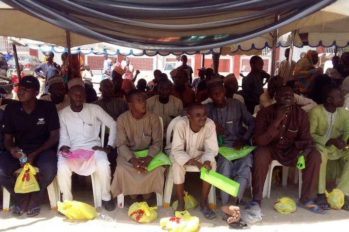 A Maiduguri, dans le nord du Nigeria, des combattants de la secte islamiste Boko Haram repentisle 12 octobre 2018.