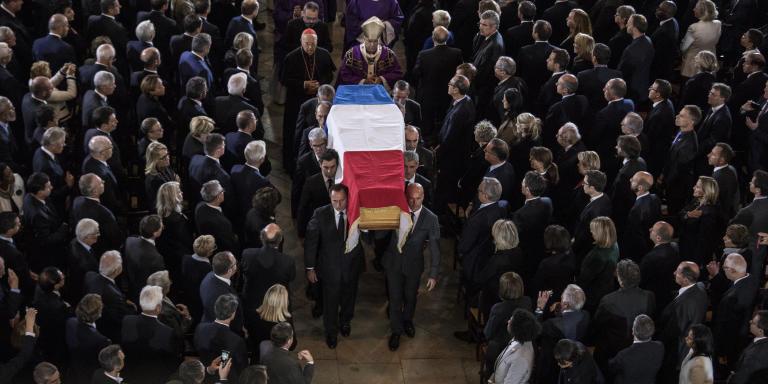 Paris, le 30 septembre 2019  Service solennel pour le Président Jacques Chirac à l'église Saint-Sulpice.  Sortie du cercueil du Président Jacques Chirac.