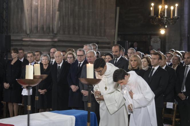 Obsèques de Jacques Chirac, à l'église Saint-Sulpice, à Paris, le 30 septembre.