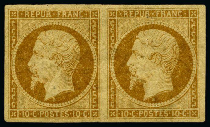 Paire neuve du 10c «Présidence», 1852, estimée 110000 à 130000 euros.