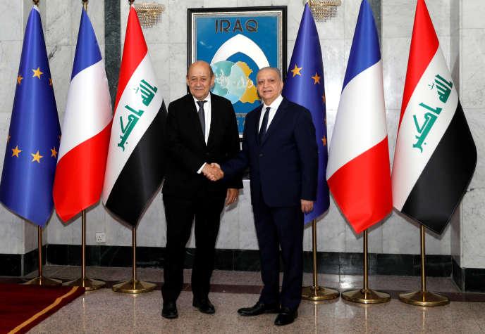 Les ministres des affaires étrangères français et irakien, MM. Le Drian et Alhakim, le 17 octobre àBagdad