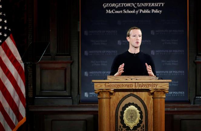 Mark Zuckerberg, lors de son discours du 17 octobre à l'université Georgetown.