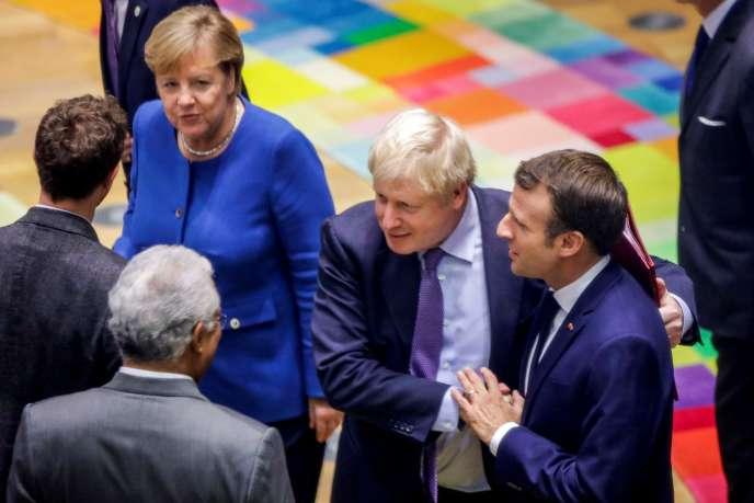 Angela Merkel, Boris Johnson et Emmanuel Macron le 17 octobre à Bruxelles.