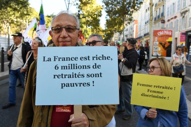 Manifestation contre la réforme des retraites, le 8 octobre, à Marseille.