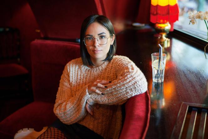 Agathe Auproux, à la brasserie La Rotonde, le 11 octobre, à Paris.