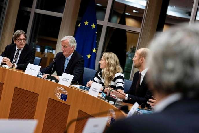 Michel Barnier, le négociateur en chef de l'Union européenne pour le Brexit, mercredi16octobre, au Parlement européen à Bruxelles.