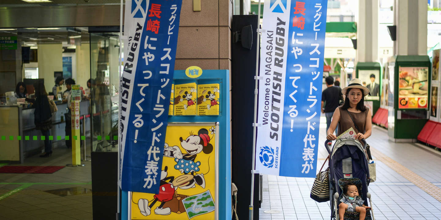 Banners welcoming the Scottish team to the city at the main railway station on September 27, 2019 in Nagasaki, Japan. (Photo by Dave Winter/Icon Sport)