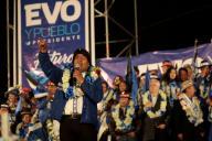 Le président Evo Morales en meeting à ElAlto, dans la banlieue de LaPaz, le 16octobre.