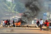 Manifestation à Conakry contre un éventuel troisième mandat d'Alpha Condé, 81 ans, le 14 octobre 2019.