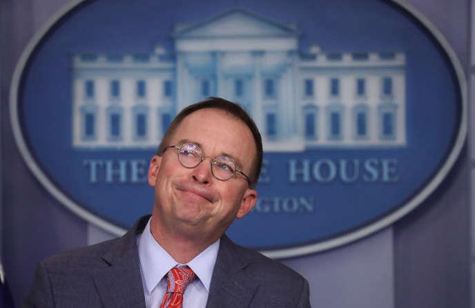 Le directeur de cabinet de la Maison Blanche par intérim Mick Mulvaney lors d'une conférence de presse, le 17 octobre.