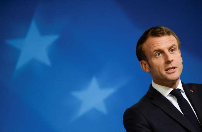 Le président Emmanuel Macron lors d'une conférence à Bruxelles, le 18 octobre 2019.
